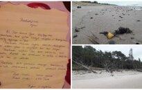Atsiliepė Latvijoje rasto laiško autorė: išmetus butelį į jūrą įvyko stebuklas
