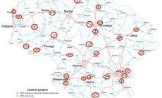 Numatomų greičio matavimo ruožų žemėlapis