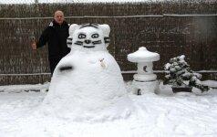 Alytiškio kiemą papuošė išskirtinės sniego skulptūros
