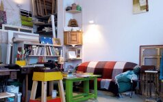 Namai pilni medinių Andriaus sukurtų baldų. Kampinę spintelę vyras parsivežė iš Švedijos, šią porą mėnesių restauravo. Sieną puošia Eglės draugės dailininkės Patricijos Jurkšaitytės tapytas paveikslas