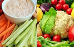 Sveikuoliškas užkandis: šviežios daržovės su užtepėle