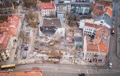 Снос бывшего кинотеатра Lietuva с высоты птичьего полета