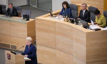 President Dalia Grybauskaitė president delivers the State of the Nation Address at the Seimas
