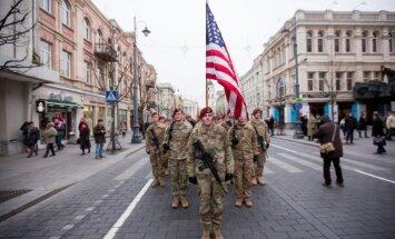 US Troops march on the Gediminas Av. in Vilnius