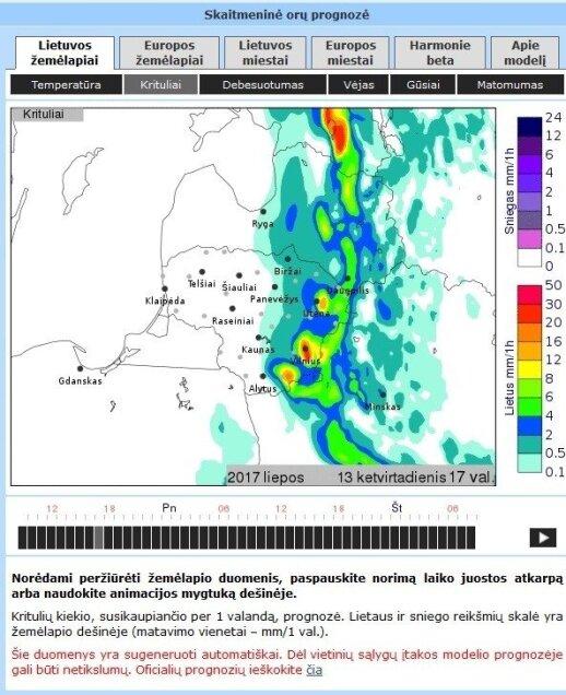Orų prognozė ketvirtadienį 17 val.