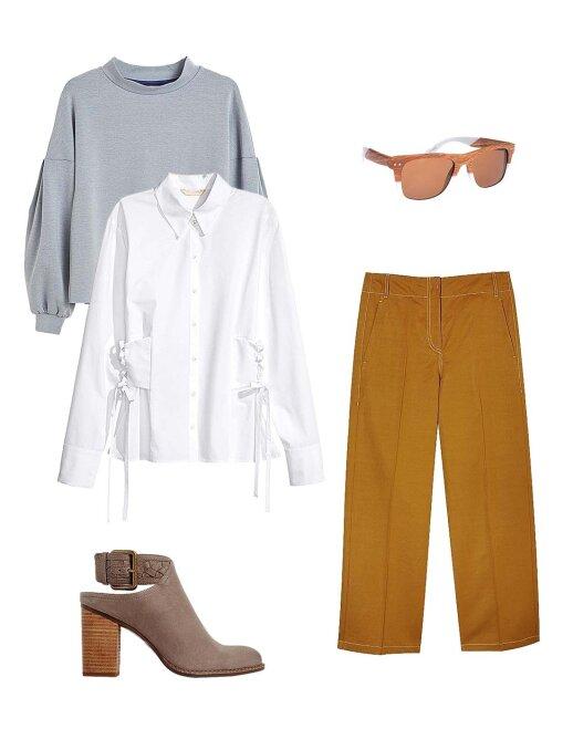 """Megztinis, """"Lindex"""", marškiniai, """"H&M"""", akiniai nuo saulės, """"Ivo Nikkolo"""", kelnės, """"Max Mara"""", batai, """"Aldo"""""""