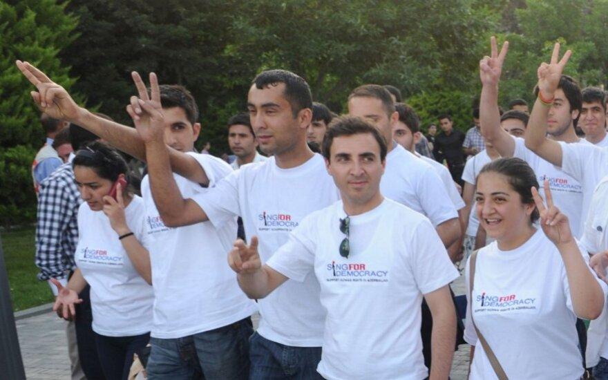 """Per """"Euroviziją"""" – demonstracija už demokratiją Azerbaidžane"""