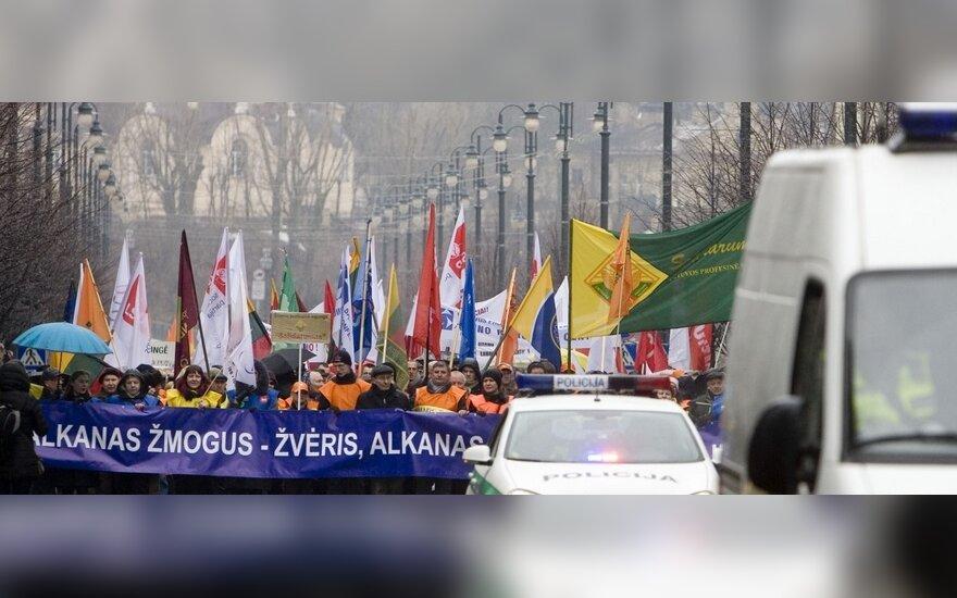 Шествие профсоюзов в Вильнюсе