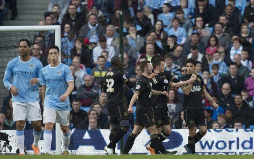 """""""Wigan"""" ekipa netikėtai įveikė """"Manchester City"""" žvaigždes"""