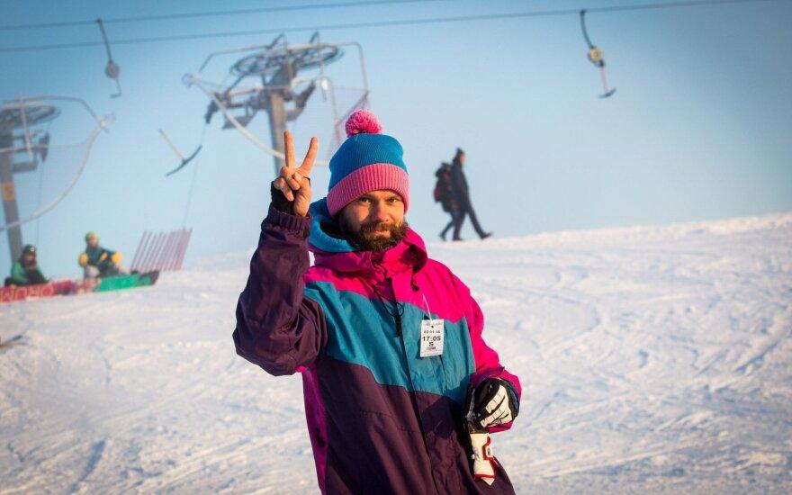 Любители зимнего спорта собираются на горе Лепкальнис