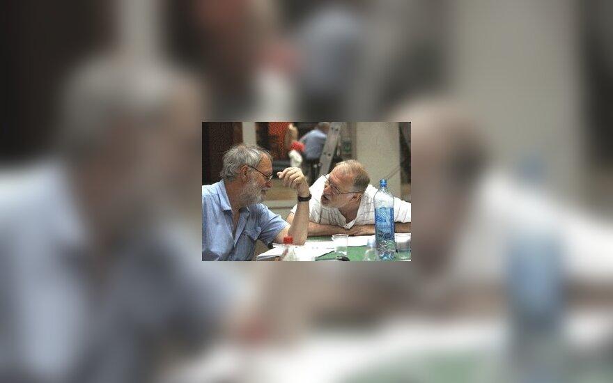 """Ю.Будрайтис и Р.Адомайтис на репетиции """"Чайки"""""""