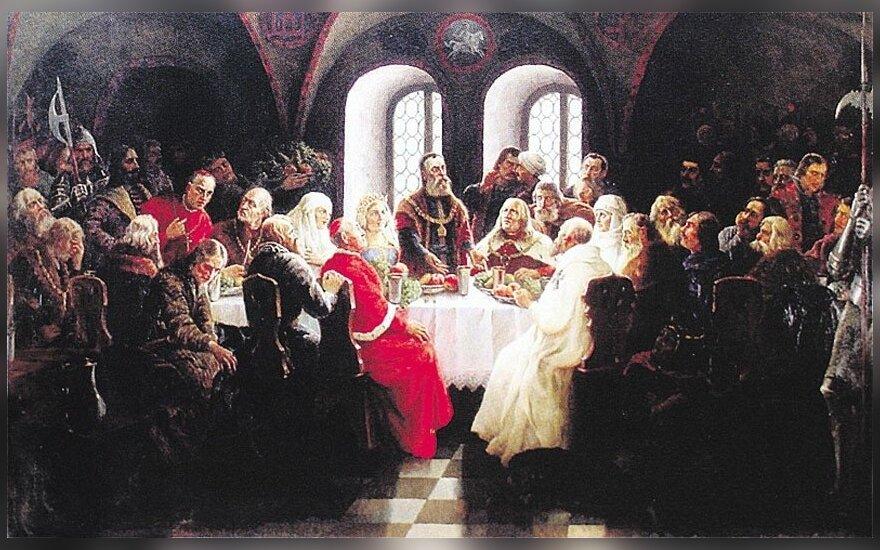 """Dailininko Jono Mackevičiaus 1934 m. paveikslas """"Vytautas Didysis Lucko suvažiavime"""""""