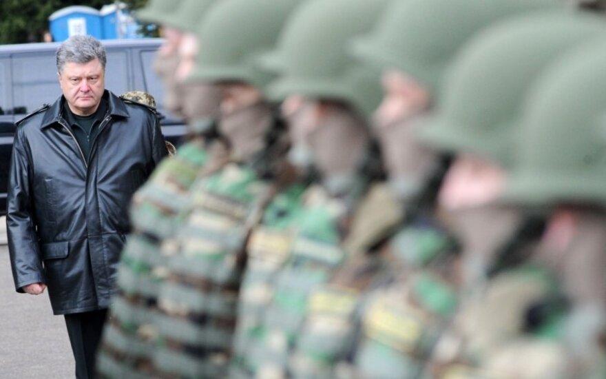 Ukraine's President Petro Poroshenko during military drill