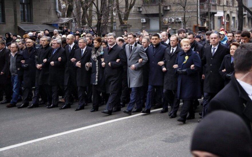В Киеве плечом к плечу шагали главы Литвы, Польши и Украины