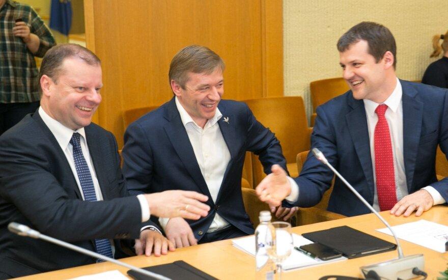 Saulius Skvernelis, Ramūnas Karbauskis ir Gintautas Paluckas