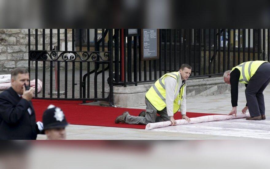 Gintaras Mačiulis tiesia kilimą princo Williamo ir Catherine Middleton vestuvėms
