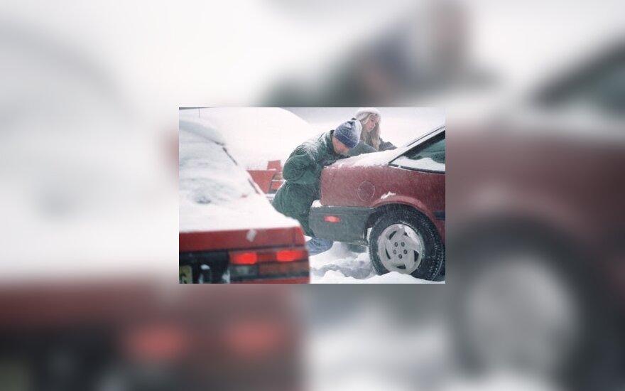 Žiema, sniegas, kelias, pūga, automobiliai