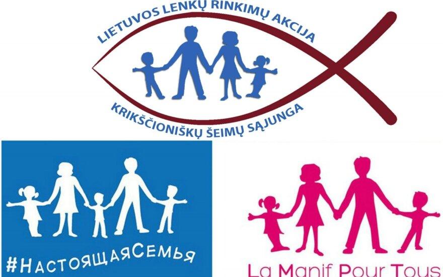 """Lenkų rinkimų akcijos logotipo ir Rusijos bei Prancūzijos """"tradicinės šeimos gynėjų"""" vėliavų palyginimas."""