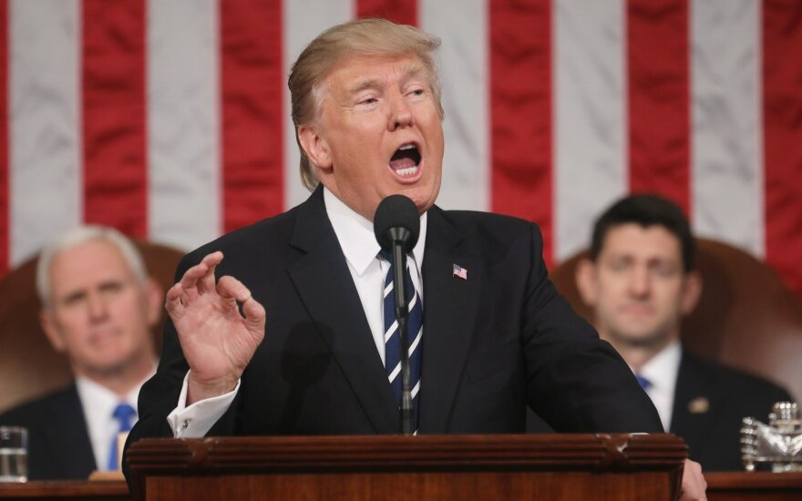 President Donald Trump addressing the US Congress