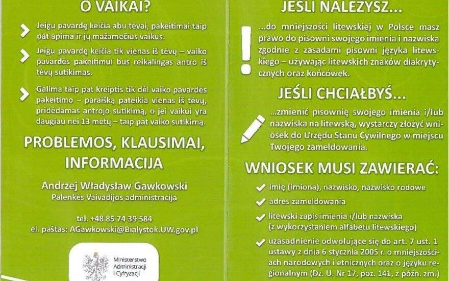 Ulotka o pisowni nazwisk. Źródło: Ambasada RP w Wilnie