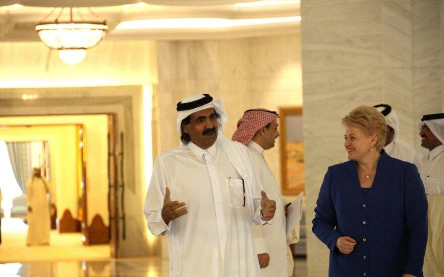 Kataro šeichas Hamadas Bin Khalifa Al Thani ir Dalia Grybauskaitė
