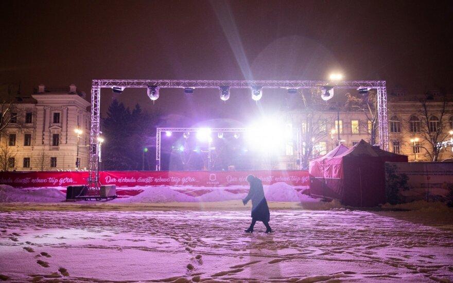 Вандалы повредили зимнюю инсталляцию на Лукишкской площади