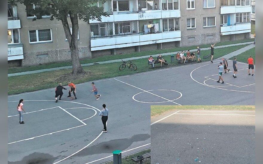 В Шилуте женщина бросала в играющих в баскетбол трехлитровые банки