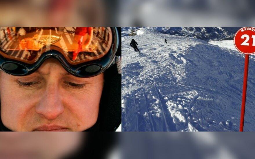M. Schumacherio smūgis į uolą buvo toks stiprus, kad skilo jo šalmas (DELFI fotomontažas)