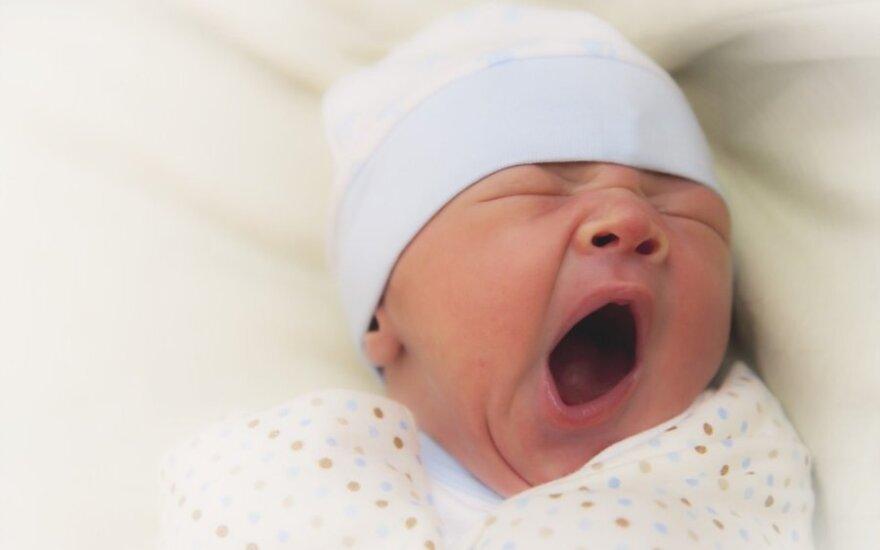 naujagimis, kūdikis, vaikas, žiovulys, miegas