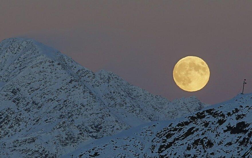 mėnulis, pilnatis, kalnas, kalnai