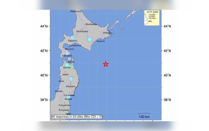Žemės drebėjimas Japonijoje, usgs.gov duomenys