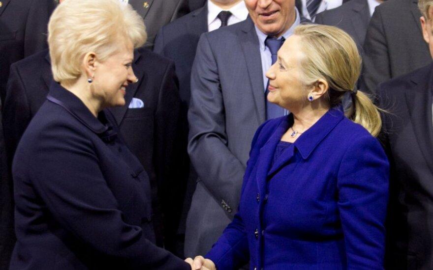 Президент поблагодарила Хиллари Клинтон за поддержку Литвы