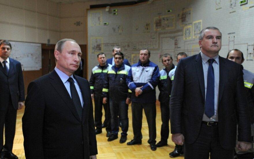 Vladimiras Putinas dalyvavo pirmosios energetinio tilto iš Kubanės į Krymą linijos paleidime