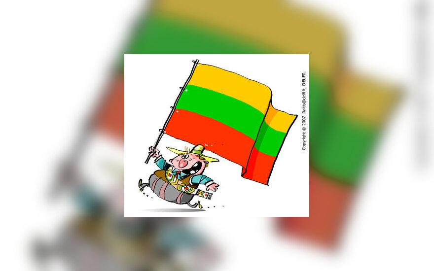 Lietuva, lietuviai, tapatybė, vėliava - karikatūra