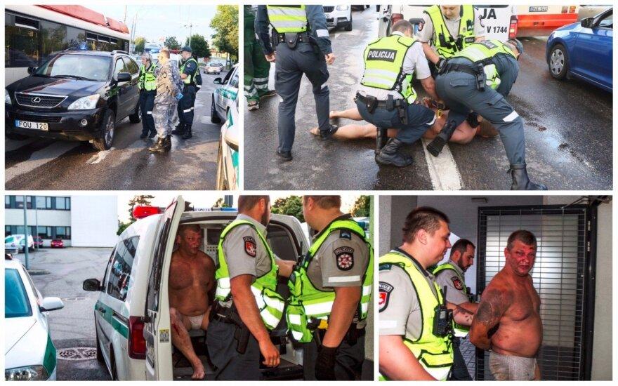 В Вильнюсе полицейские усмиряли нетрезвого водителя Lexus