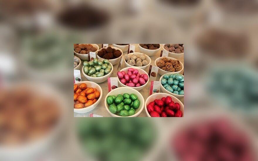 Briuselyje prieš Velykas pardavinėjami šokoladiniai kiaušiniai.