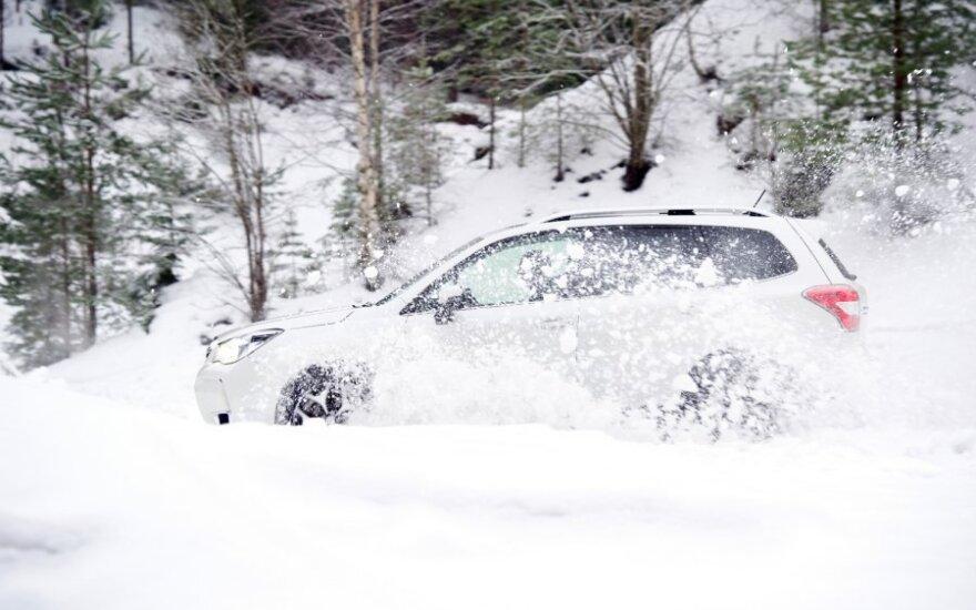 Дороги Литвы покрыты снегом