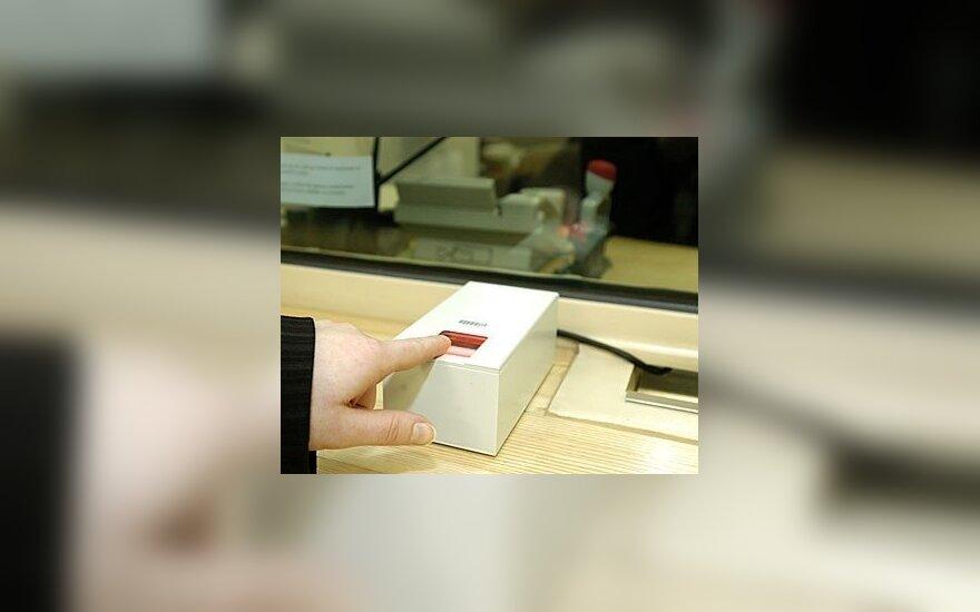 JAV vizos. Pirštų atspaudų tikrinimo sistema