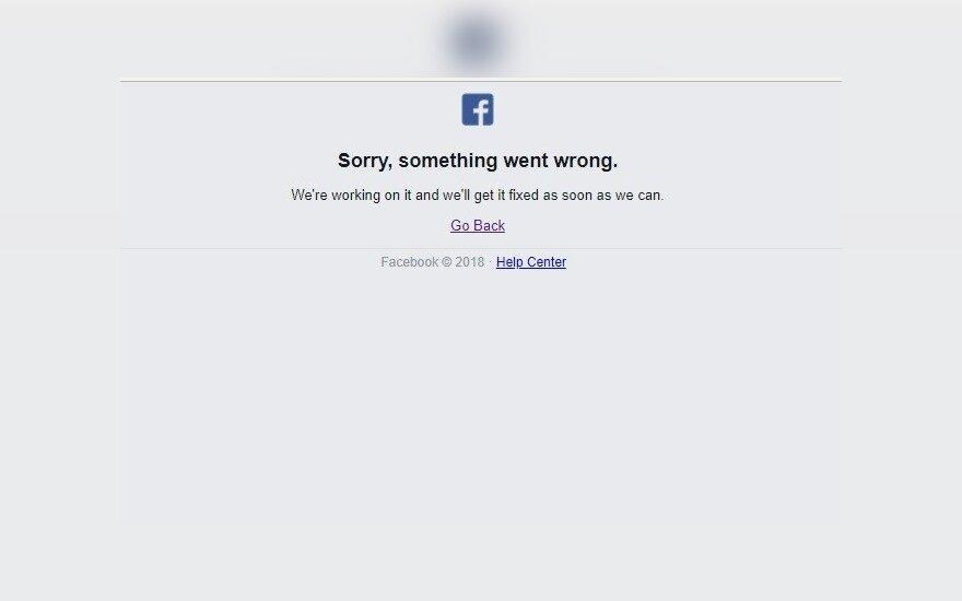 Facebook nepasiekiamas
