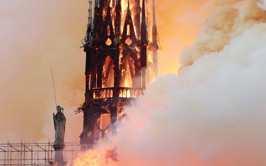 Paryžiaus Švč. Dievo Motinos katedroje kilo didelis gaisras, nugriuvo jos smailė