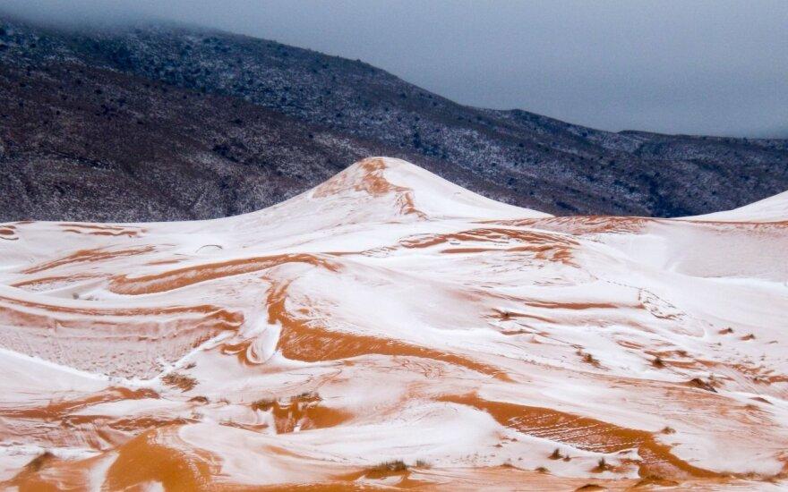 Редкое явление: в пустыне Сахара выпал снег