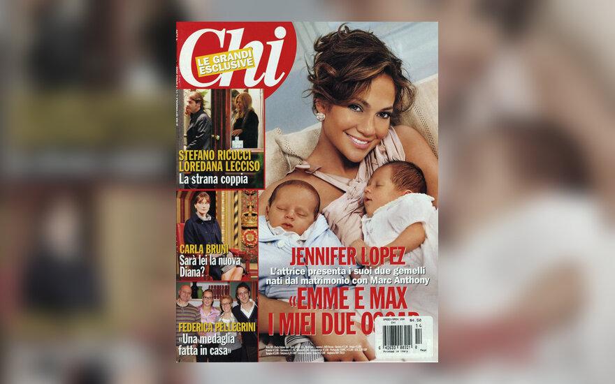 Jennifer Lopez kartu su vaikais žurnalo viršelyje