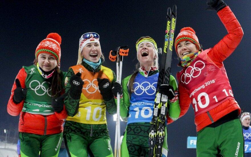 Baltarusijos biatlono moterų rinktinė: Iryna Kriuko, Dzinara Alimbekava, Darja Domračeva ir Nadežda Skardino