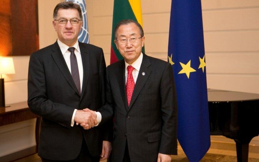 Algirdas Butkevičius susitiko su Jungtinių Tautų Organizacijos generaliniu sekretoriumi Ban Ki-moonu