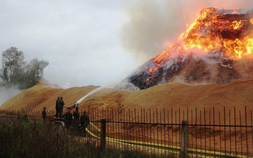 В Радвилишкисе второй день борются с пожаром