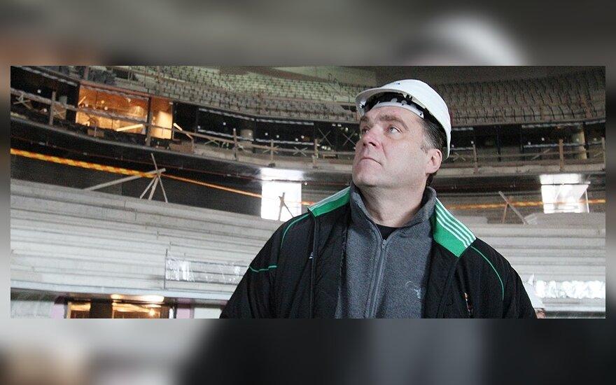 """Arvydas Sabonis apžiūri naują """"Žalgirio"""" areną"""