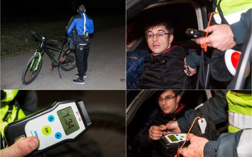 Рейд в Вильнюсе: пьяный велосипедист испугался, что у него заберут водительские права