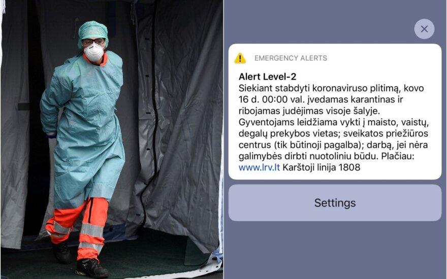 С полуночи в Литве вводится карантин: на телефоны жителей были отправлены сообщения