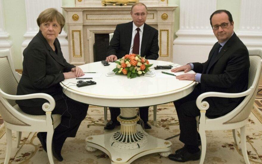 A. Merkel, F. Hollande'as ir V. Putinas susitinka Maskvoje