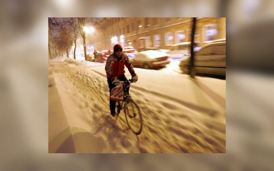 Латвию завалило снегом